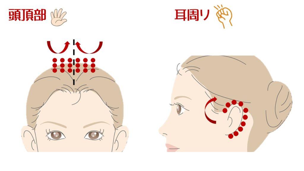 頭頂部・耳周り 頭皮マッサージ